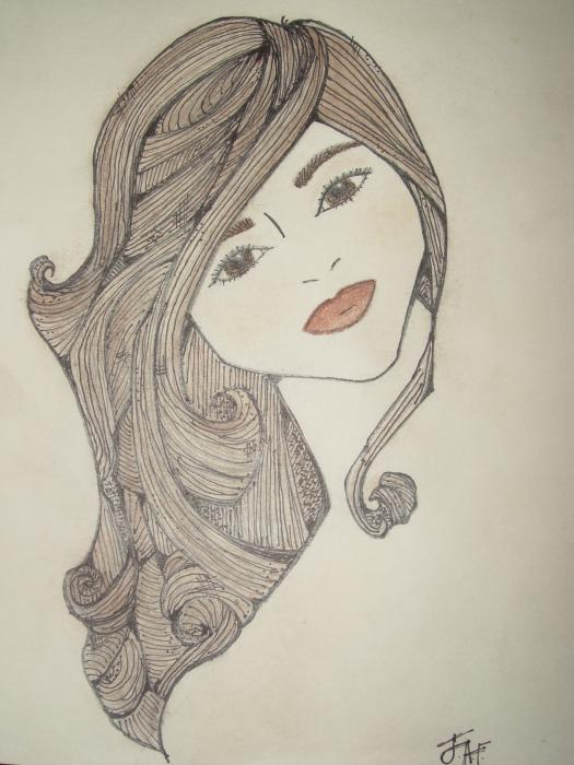sylized detail drawings, pencil drawings, long hair drawings, lovely woman