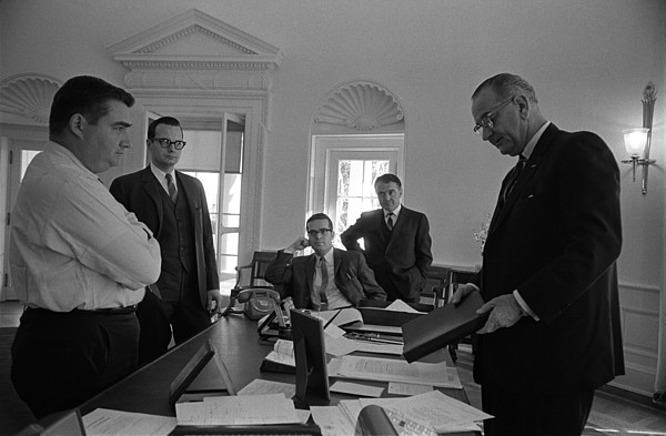 History Photograph - Lyndon Johnson With Former Kennedy by Everett