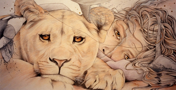 Lyonesse Drawing by Johanna Pieterman. Tags: lion drawings, lioness drawings