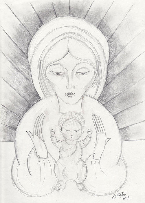 Madonna And Child Drawing  - Madonna And Child Fine Art Print