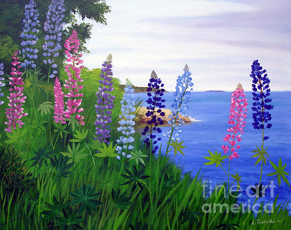 Maine Bay Lupine Flowers Painting - Maine Bay Lupine Flowers Fine Art Print