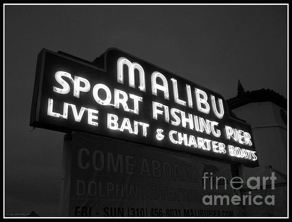 Glenn McCarthy Art and Photography - Malibu Pier Sign In BW
