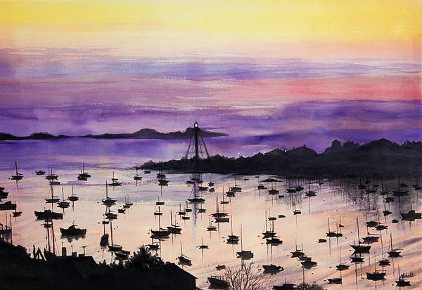 Marblehead Sunset Watercolor Painting - Marblehead Sunset Watercolor Fine