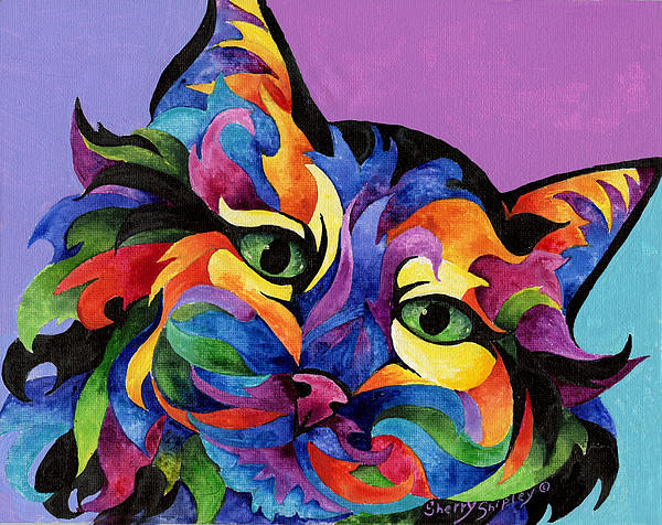 Mardi Gras Cat Painting  - Mardi Gras Cat Fine Art Print