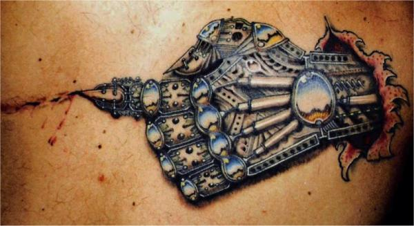 Mechanical hand tattoo Photograph - Mechanical hand tattoo Fine Art Print