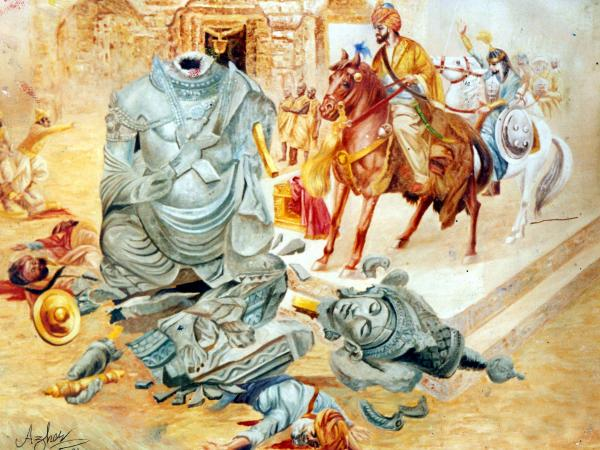 Mehmood Ghaznavi Breaking The Somnaths Mandir Painting