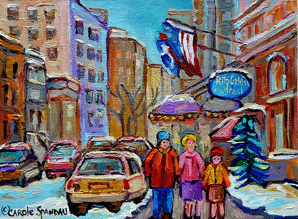 Montreal Street Scenes In Winter Painting