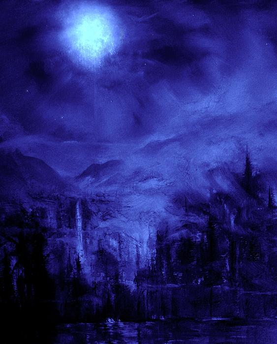Moon Light Series In Blue Painting  - Moon Light Series In Blue Fine Art Print