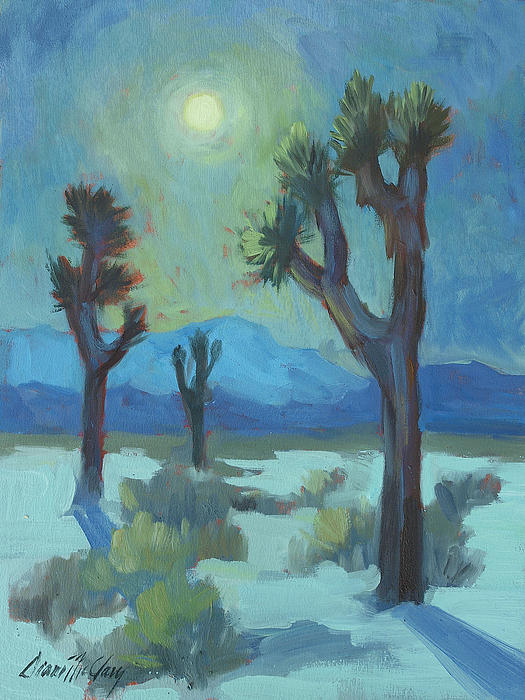 Moon Shadows At Joshua Painting  - Moon Shadows At Joshua Fine Art Print