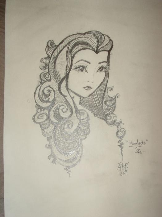 MoonLocks Drawing by Julie Farney. Tags: long curly hair drawings,