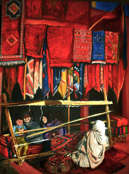 Moroccan Rug Weavers Painting by Yvonne Ayoub - Moroccan Rug ...