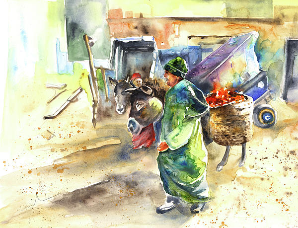 Morrocan Market 04 Painting  - Morrocan Market 04 Fine Art Print