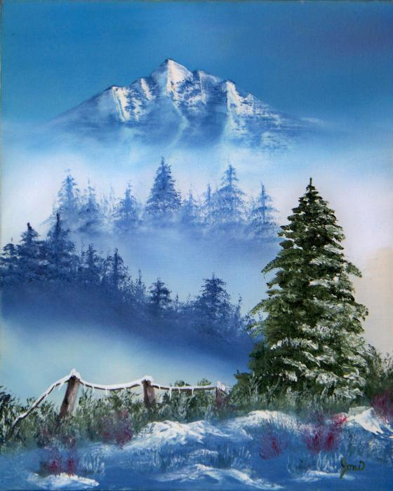 mountain winter painting