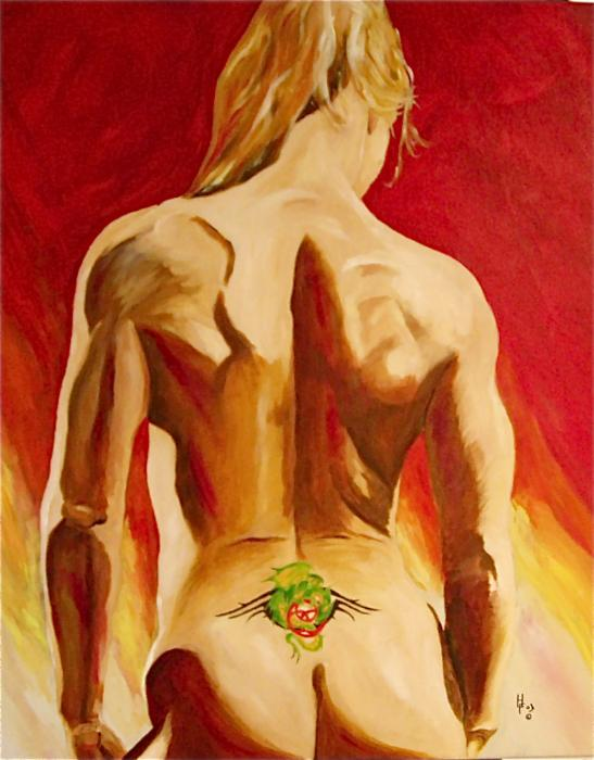 New Tattoo Painting by Herschel Fall. Tags: nude paintings, nude canvas