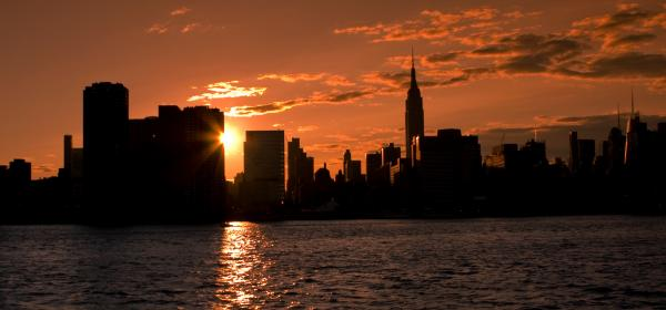 new york city skyline at sunset. New York City Skyline