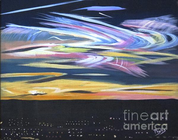 Phyllis Kaltenbach - Northern Lights Over City