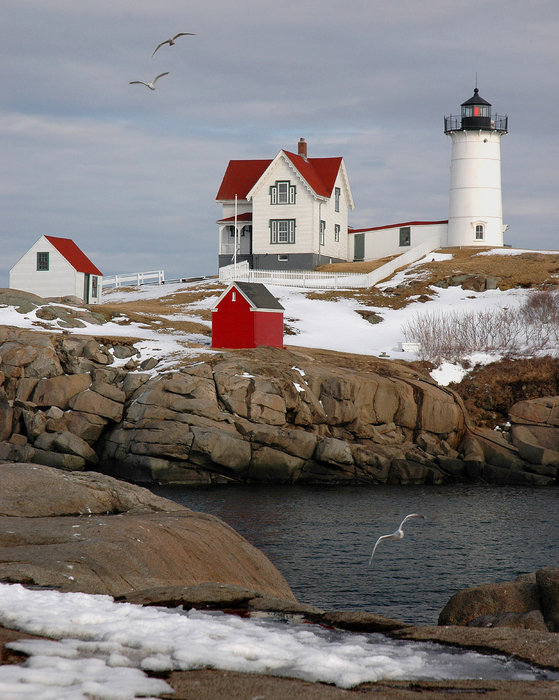 Jon Holiday - Nubble Light - Cape Neddick lighthouse seascape landscape rocky coast Maine