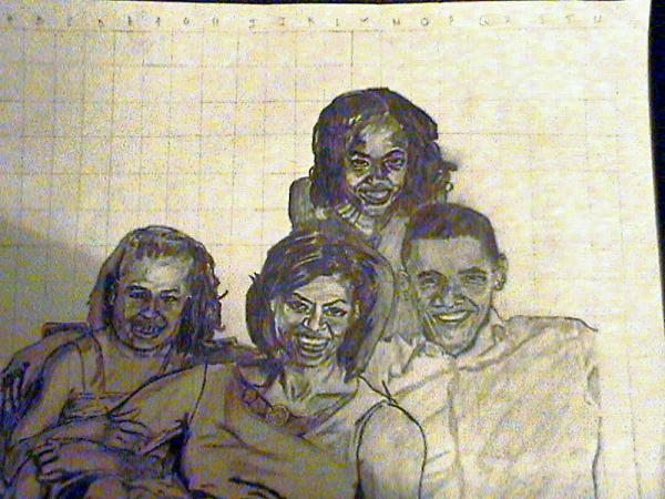 Obama And Family Drawing by Olusegun Balogun