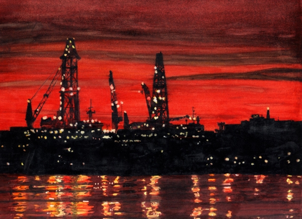 cityscape paintings, night scene paintings, sunset paintings,