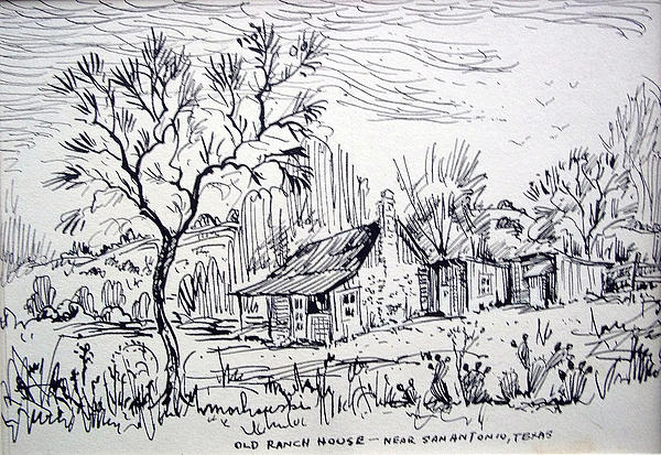 Old Ranch House Drawing  - Old Ranch House Fine Art Print