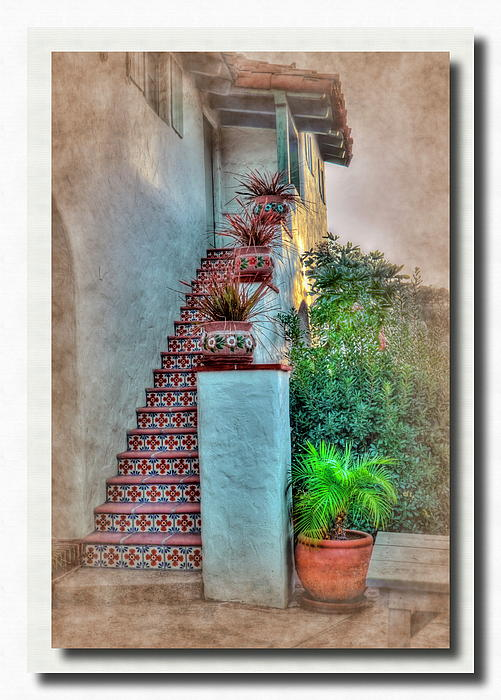 Old Town Stairs Pyrography  - Old Town Stairs Fine Art Print