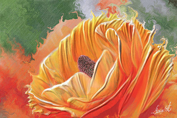Orange Burst Rose Painting  - Orange Burst Rose Fine Art Print