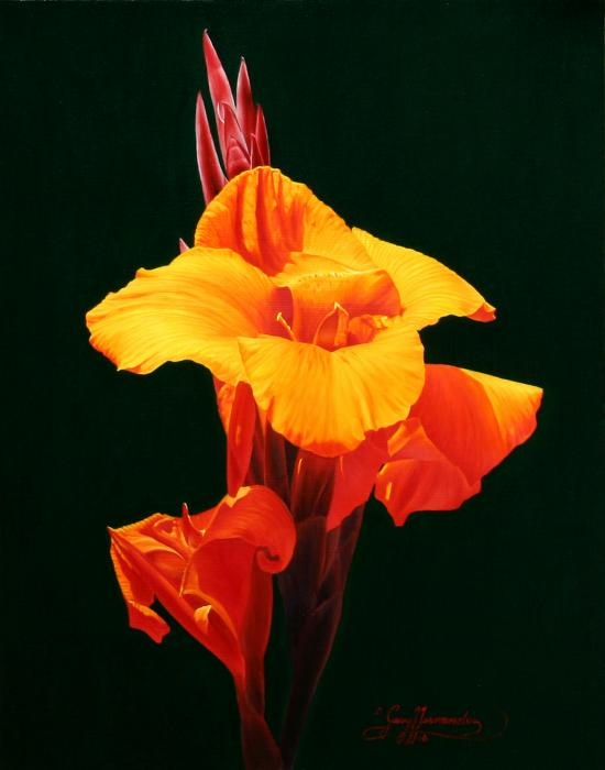 Orange Canna Painting by Gary Hernandez
