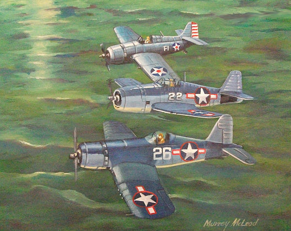 Naval Aviation Art Painting - Partners In Fame 2 by Murray McLeod
