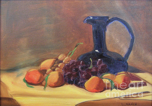 Still Life Painting - Peaches And Blue Pitcher by Lilibeth Andre