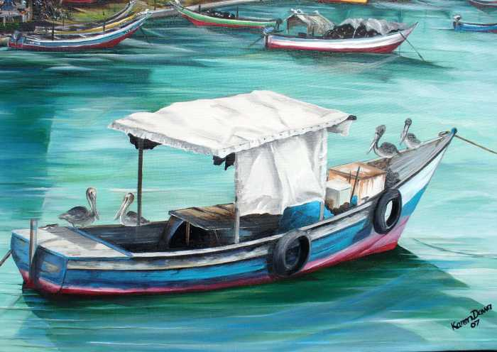 Pirogue Fishing Boat Painting