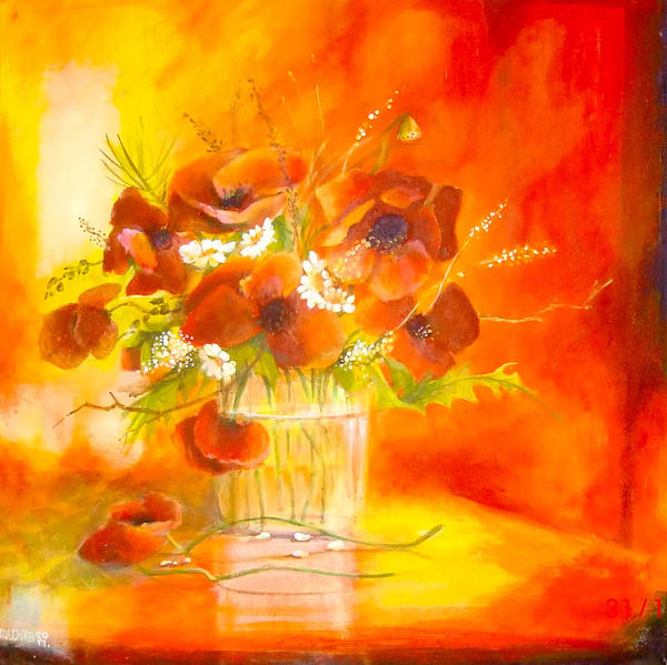 Poppies And Daisies In A Glas Vase Painting  - Poppies And Daisies In A Glas Vase Fine Art Print