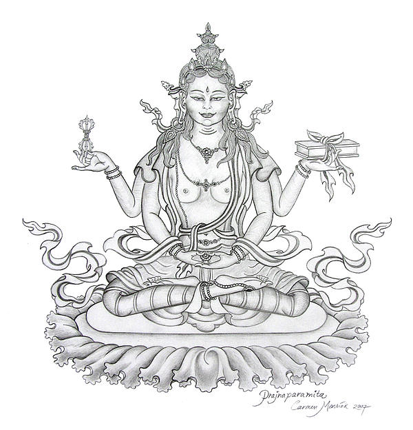 Prajnaparamita -Perfection of Wisdom Drawing by Carmen Mensink ...