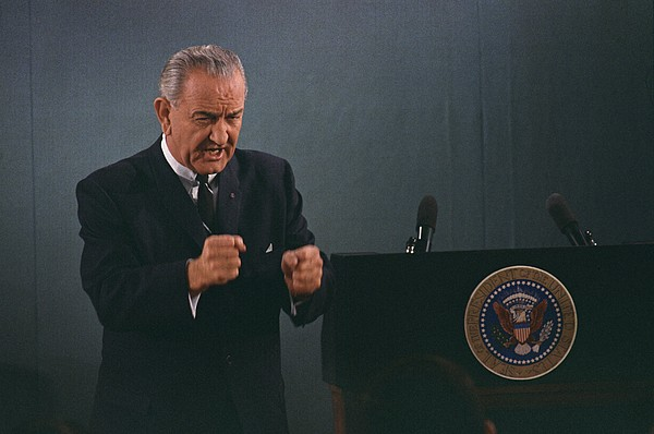 History Photograph - President Lyndon Johnson In An Emphatic by Everett