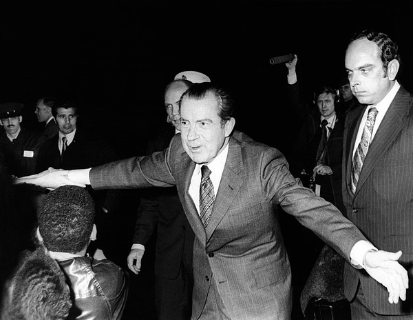 History Photograph - President Richard Nixon Extends Himself by Everett