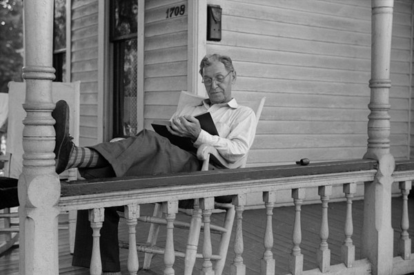 History Photograph - Reading A Good Book. Middle Age Man by Everett