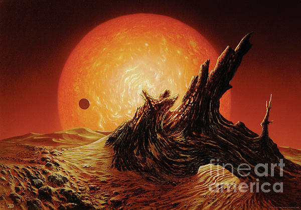Red Giant Sun Painting  - Red Giant Sun Fine Art Print