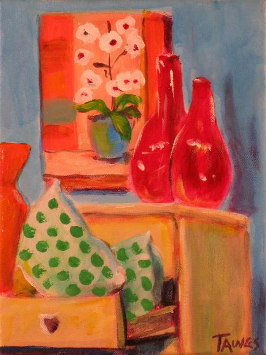 Vases Of Flowers. Red Vases and Flowers Painting