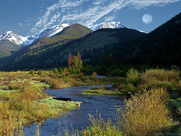 Rocky Mountain Moonrise Photograph  - Rocky Mountain Moonrise Fine Art Print