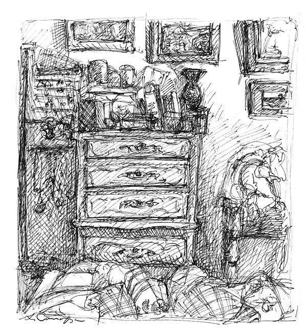 Room Study Drawing  - Room Study Fine Art Print