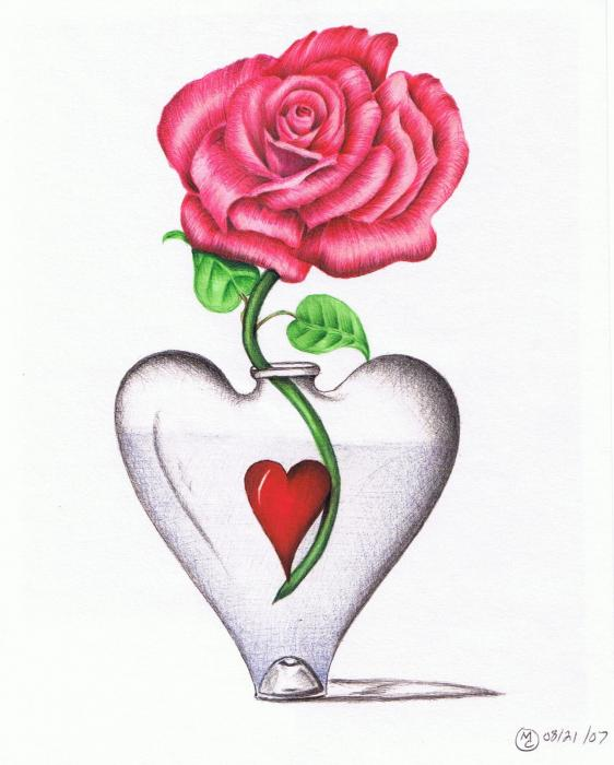 cool love heart drawings. Rose In Heart Vase Drawing