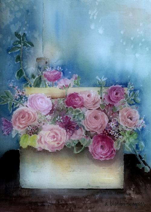 Arline Wagner - Roses In A Wooden Box