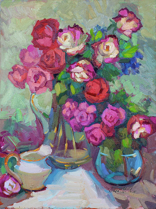 Roses In Two Vases Painting  - Roses In Two Vases Fine Art Print