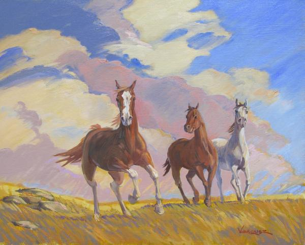 wild horses running free paintings