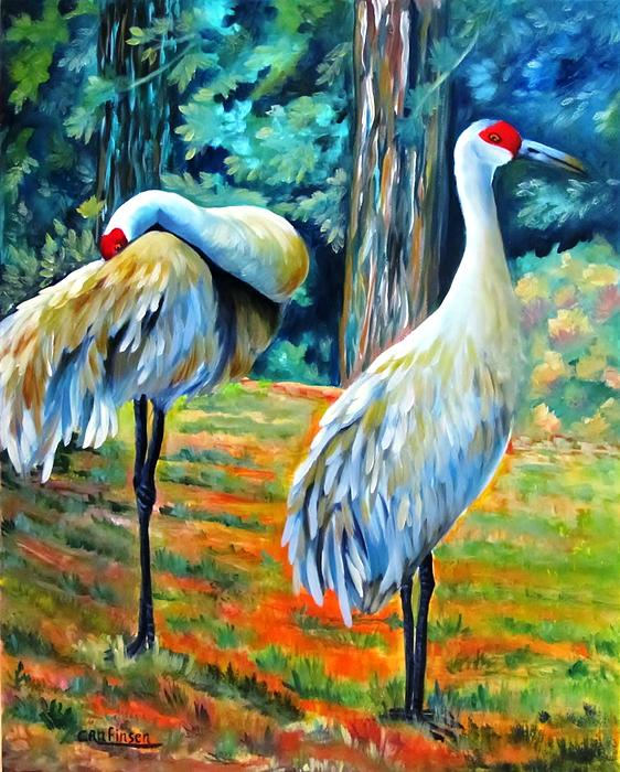 Carol Allen Anfinsen - Sandhill Cranes at Twilight