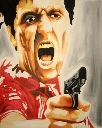 tony montana wallpaper. as tony montana airbrushed