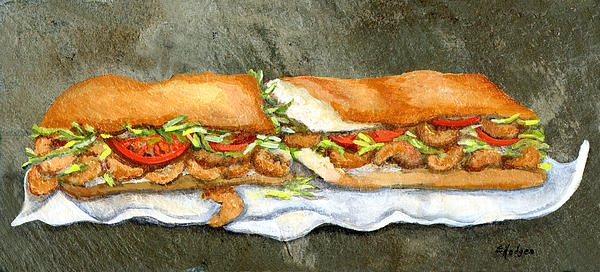 Shrimp Po Boy Painting  - Shrimp Po Boy Fine Art Print