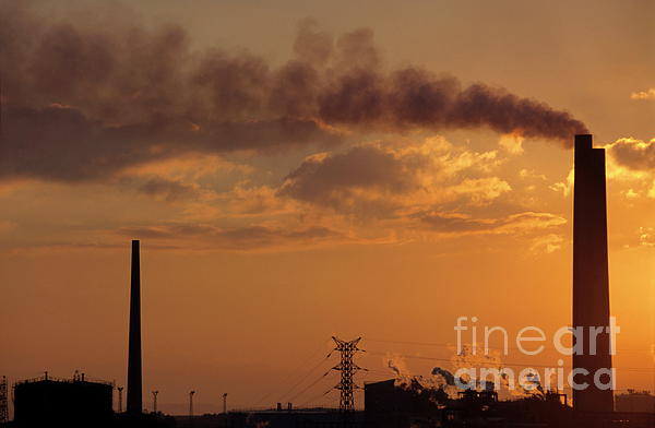 Silhouetted Smoking Chimney At Sunset Photograph  - Silhouetted Smoking Chimney At Sunset Fine Art Print