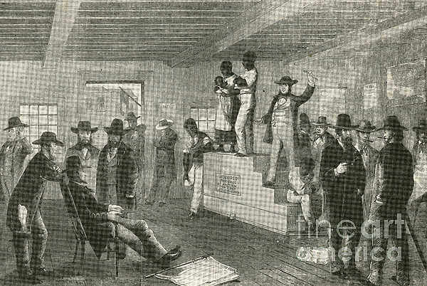 America Photograph - Slave Auction, 1861 by Photo Researchers