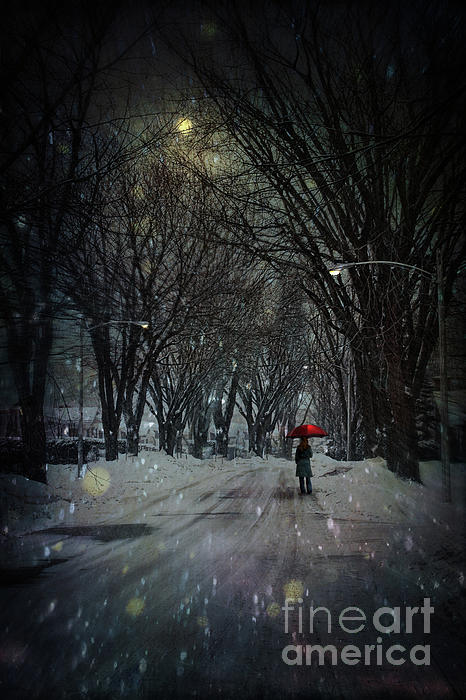 Snowy Winter Scene With Woman Walking At Night Photograph  - Snowy Winter Scene With Woman Walking At Night Fine Art Print