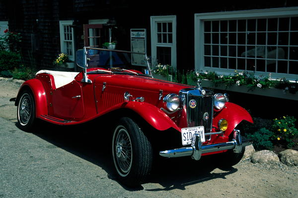 Red Mg Convertible Sports Car Photograph - Sporty by Sally Weigand